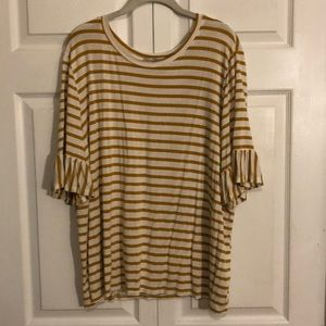 Yellow and white striped 3/4 sleeve shirt